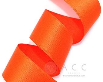 5Yards Orange Single Faced Satin Ribbon - 10mm(3/8''), 15mm(5/8''), 25mm(1''), and 40mm(1 1/2'') - Semi Gloss Flat Satin