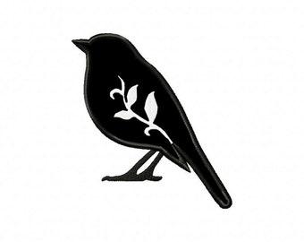 Blackbird bird silhouette machine embroidery design