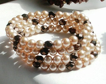 Czech Copper and Peach Druk Glass Pearl Beads Memory Wire Coil Bracelet