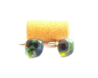Recycled wine bottle cufflinks in green, brown, and frosted glass/Repurposed glass square green cufflinks