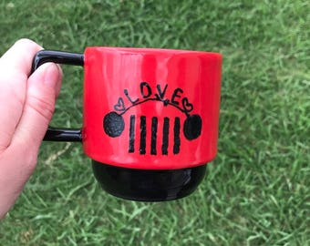 jeep themed coffee cup