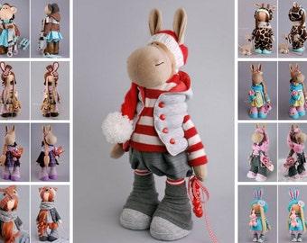 Donkey doll Rag doll Tilda doll Interior doll Art doll red doll Soft doll Cloth doll Fabric doll Nursery doll Baby gift doll by Alena R