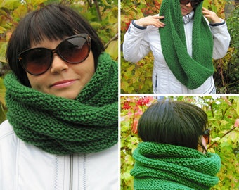 Gifts-for-her-Knit-Scarf-Wool-Gift-for-women-Chunky-Scarf-Green-scarf-Snood- Wool-Christmas-gift-SALE