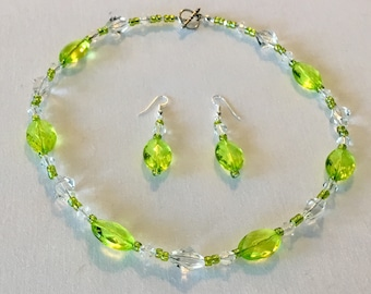 Lime green beaded necklace and earring set