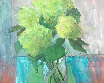 Hydrangea painting oi still life flowers floral still life 20x16 inches modern impressionist fine art original painting