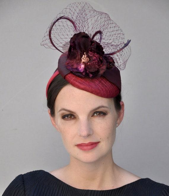 Ladies Formal Hat, Derby Fascinator, Wedding Fascinator, Wedding Hat, Cocktail Hat, Church Hat, Pillbox Hat, Percher, Wine Fascinator