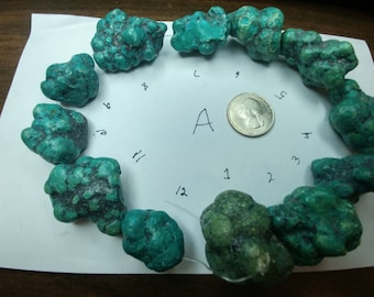 Large Turquoise Nugget Beads -  (2014100A)