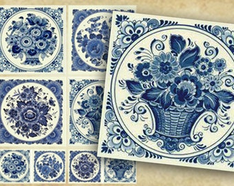 Floral Coasters, Digital Square Coasters, Delft Blue Set of Printable Cards. Printable tags 4x4 inch -2x2 inch, DIY craft supplies, flowers