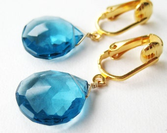 London Blue Quartz Clipon Earrings, Gold Ear Clips, Medium Sapphire Blue Faceted Teardrops, Large Briolettes, Handmade, Crystal Lake