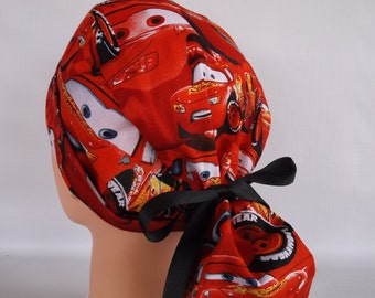 Lightning McQueen Ponytail - Womens surgical scrub cap, Nurse surgical cap, 43-2160 W