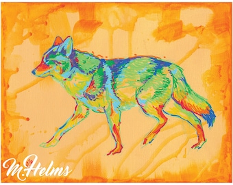 Print or Note Card: Animals of the West, Coyote
