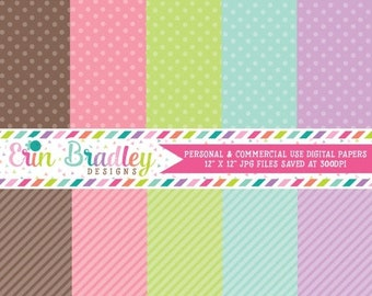 80% OFF SALE Digital Papers Personal and Commercial Use Colorful Polka Dots and Diagonal Stripes