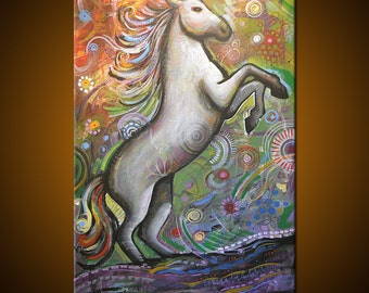 """Amy Giacomelli Painting Original Large Abstract Horse .... 24 x 36 ... """"Natural Grace"""", plz c close ups"""