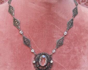 1930's ART DECO Filigree CRYSTAL Glass & Filigree Necklace
