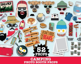 Camping Photo Booth Props - Camping Party, Glam Camp, Woodland Party, Lumberjack - Instant Download PDF - 52 DIY Printable Props