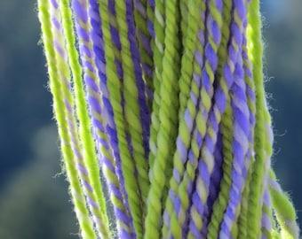 Handspun & Handpainted Merino Wool Yarn, 4 oz, 120 g., 190 yds - Wild Iris - Bulky Weight - Purple, Green