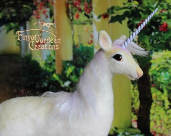"""Unicorn mare """"Soft Rainbow""""-needle felted in wool-movable-soft sculpture (pre-order! is made extra for you)"""