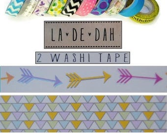 "Set of 2 rolls of washi tape 2 ""La De Dah"" decor scrapbooking (ref.110) *."
