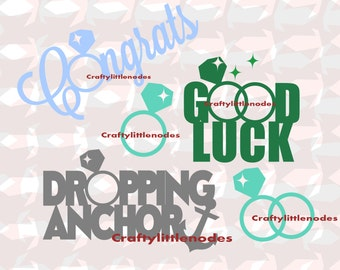 Engaged Dropping Anchor Good Luck Congrats Rings Monogram SVG STUDIO Ai EPS cutting file cricut explore silhouette cameo instant download