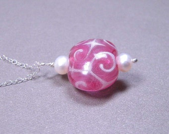 SALE - Lampwork Glass Necklace - Pink Swirl and Freshwater Pearls on Sterling Silver (N-115)