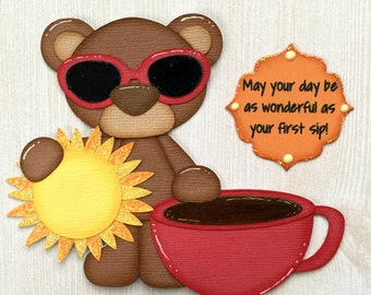 "Pre-made Paper Piecing Die Cut ""Sunshine Coffee Loving Bear"" 2 piece Embellishment Set"