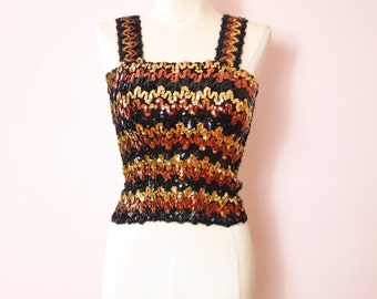 1970s Sequined Disco Club Tank Top S