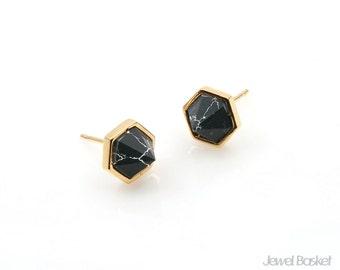 Black Turquoise Hexagon Earrings in Gold / 8.5mm x 6.2mm / SBQG101-E (2pcs)