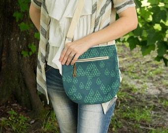 Crossbody Bag, Geometric Print, Small Purse, Casual Bag, Hipster Purse
