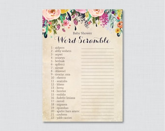 Floral Baby Shower Word Scramble Game with Colorful Flowers - Printable Instant Download Shabby Chic Flower Baby Shower Game - 0025-A