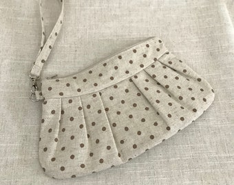Beige and Plum Polka Dot Clutch with Wrist Strap | Beige Wristlet | Retro Wristlet | Rockabilly Clutch | Canvas Clutch | READY TO SHIP