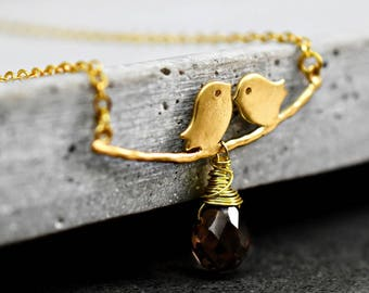 Togetherness gold plated necklace with Smoky Quartz (VIK-175)
