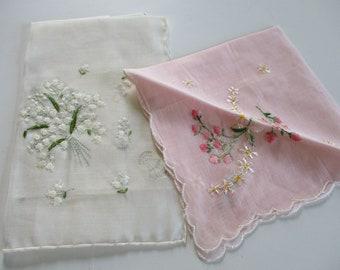 Vintage Ladies Handkerchief-Hankie-Hanky-Floral-Set of 2-Unused-Tags-Lily of the Valley