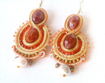 Infinity crab fire agate statement earrings with gold orange silk soutache , chandelier boho chic handmade  earrings