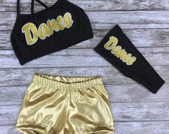 Girls Dancewear,Dancewear,Girls Dance Outfit,Kids Dancewear,Girls Dance Set,Dance Set,Girls Dance Top,Dance Top,Activewear,Headband,Dance