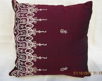 Luxurious silk embroidered cushion cover, deep burgundy red, medium