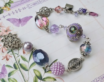 """Lilac and Purple Vintage Style Silver Beaded Bracelet """"LILAC BLOSSOMS"""" Neo Victorian Jewelry Artistic Jewelry Unique Jewelry"""