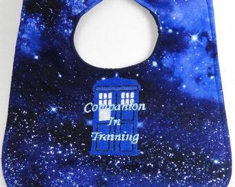 Doctor Who Companion in Training Tardis baby bib