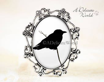 Crow Jewelry Brooch in Silver, Raven Pin with Real Photo, Black and White Accessory for Women, Gothic Style Broach, Bird Silhouette