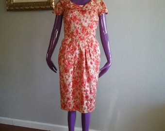 Vintage 1960 Floral Flower Printed Shift Dress / Floral Flower Print 60s Wiggle Dress Size Small