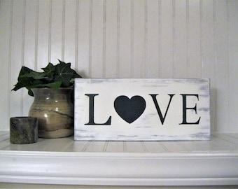 "Wood Love sign, Rustic decor, Handpainted, 5.5"" x 12"""