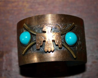 Wide Copper Cuff Bracelet Eagle Turquoise