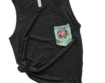 Pocket Tank Top, Pocket Tshirt, Victorian Floral, Teal & Pink Floral