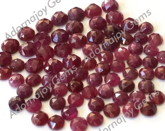 Ruby 4mm Gemstone Cabochon Rose Cut FOR THREE