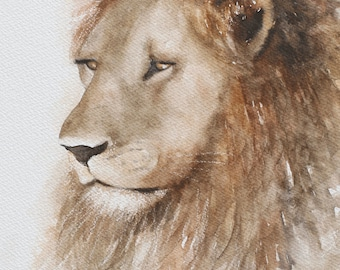 Painting of Lion painting lion art PRINT Lion PRINT from original lion painting animal wall hanging watercolor nursery boy room decor jungle