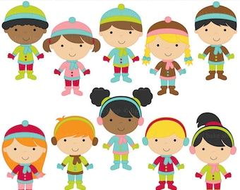 winter clipart digital clip art - Winter Kids Digital Clip Art - BUY 2 GET 2 FREE