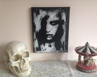 Original Black and white kyra night of the living dead zombie cult classic acrylic painting/ horror wall art/ wall decor
