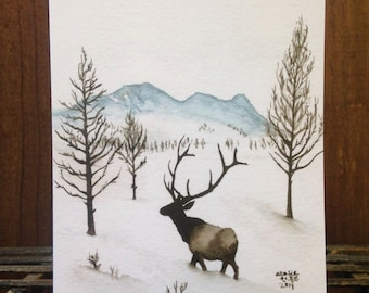 Elk Snowscape Greeting Card