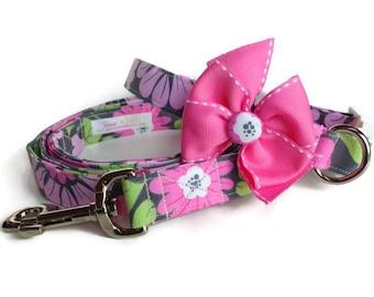 Pink Grey Floral Dog Collar Leash Set size Large