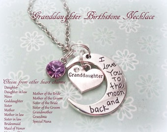 Love You to the Moon and Back Birthstone Necklace, Gift for Granddaughter, Daughter Gift, Bridal Jewelry, Personalized Jewelry, Wedding Gift