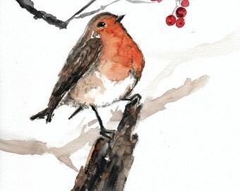 Original watercolor bird painting, robin bird painting